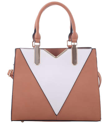 Mkf Collection By Mia K. MKF Collection by Mia K. Women's Handbags Tan - Tan & White Color Block Satchel