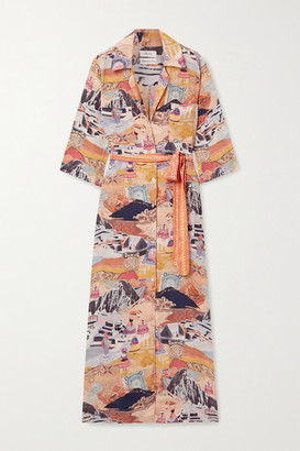 CHUFY Moray Printed Voile Maxi Shirt Dress - Orange