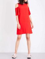 Mo&Co. Slash-shouldered crepe dress