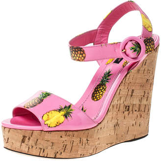 Dolce & Gabbana Pink Patent Leather Pineapple Cork Wedge Platform Ankle Strap Sandals Size 40