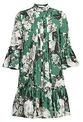 Erdem Women's Winford Rose Wallpaper Bell Sleeve Shirtdress
