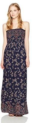 Angie Women's Printed Smocked Bodice Strapless Maxi Dress