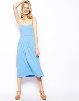 Asos Midi Bandeau Skater Dress - Blue