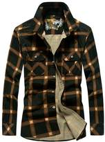 Pishon Men's Plaid Shirt Twill Cotton Original Fit Pockets Long Sleeve Work Shirt