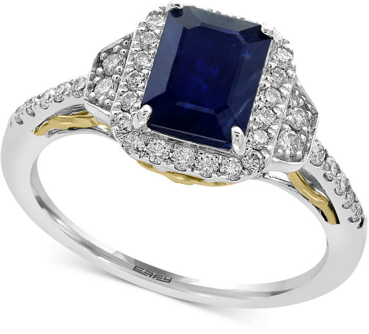 Effy Royale Bleu by Sapphire (1-1/2 ct. t.w.) and Diamond (3/8 ct. t.w.) Ring in 14k Gold, Created for Macy's and White Gold, Created for Macy's