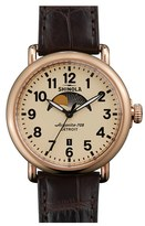 Shinola The Runwell Moon Phase Alligator Strap Watch, 41Mm