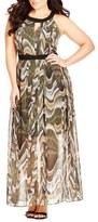 City Chic Print Keyhole Maxi Dress (Plus Size)