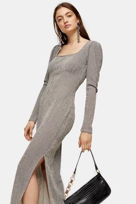 Topshop Womens Square Neck Column Midi Dress - Stone