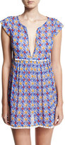 Milly Mosaic-Print Pompom Coverup Mini Dress, Blue Multicolor