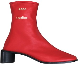 Acne Studios Red Leather Ankle boots