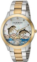 Akribos XXIV Women's Two-Tone Case with Genuine Swarovski Crystals and White Mother-of-Pearl with Dolphin Dial on Two-Tone Stainless Steel Bracelet Watch AK953DTTG