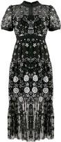 Self-Portrait Floral Sequin Band-Collar Midi Dress