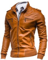 uxcell® Men Zip Up Stand Collar Imitation Leather Jacket M