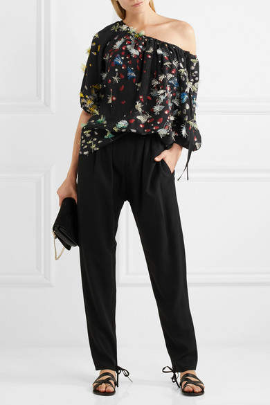 Chloé Off-the-shoulder Fil Coupé Silk Blouse