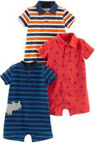 Carter's Simple Joys By Simple Joys by 3-pack Rompers Orange Blue Navy Stripe/Red Anchors 24 Months