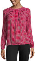Liz Claiborne Long Sleeve Ruffle Shoulder Blouse