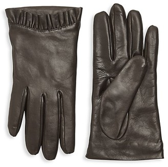 Portolano Pleated-Trim Leather Gloves
