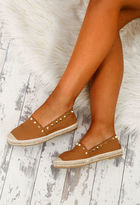 Pink Boutique Jilted Lovers Tan Studded Espadrilles
