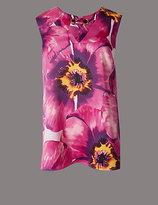 Autograph Floral Print V-Neck Sleeveless Shell Top