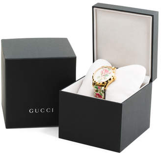 Women#39;s Swiss Made G Timeless Floral Leather Strap Watch