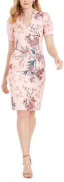 Vince Camuto V-Neck Floral-Print Scuba Sheath Dress