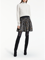 Somerset by Alice Temperley Leopard Print Knit Skirt, Natural