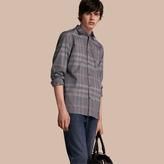 Burberry Check Cotton Oxford Shirt , Size: Xs, Black
