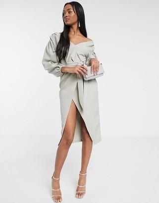 ASOS DESIGN fallen shoulder wrap midi dress with belt in soft grey
