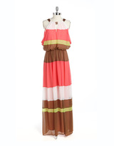 Vince Camuto Tiered Colorblock Maxi Dress