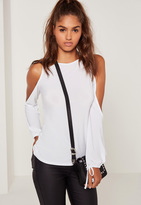 Missguided Cold Shoulder Tie Cuff Tunic White