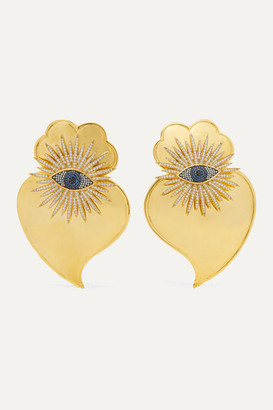 BEGÜM KHAN Evil Eye Cuore Sacro Gold-plated Crystal Clip Earrings - one size