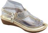KOLLACHE Womens Low Wedge Toe Post Sandals Ladies Diamante Summer Shoes