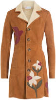 RED Valentino Shearing Coat with Leather Patchwork
