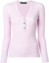 Versace ribbed Medusa button jumper - women - Polyester/Wool - 38