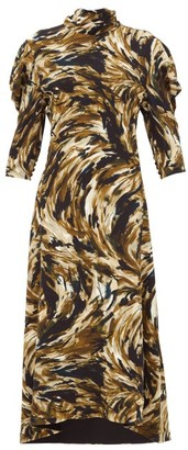 Proenza Schouler High-neck Feather-print Crepe Dress - Brown Multi