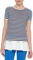 Akris Punto Striped Short-Sleeve Top w/Peplum, Navy/Azure
