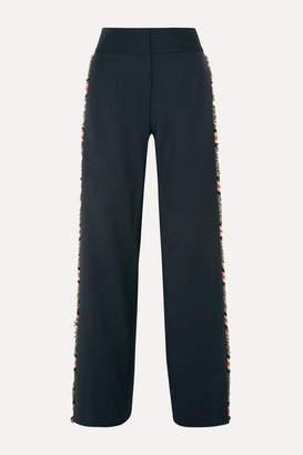 Monse Plaid-trimmed Wool-blend Straight-leg Pants - Navy