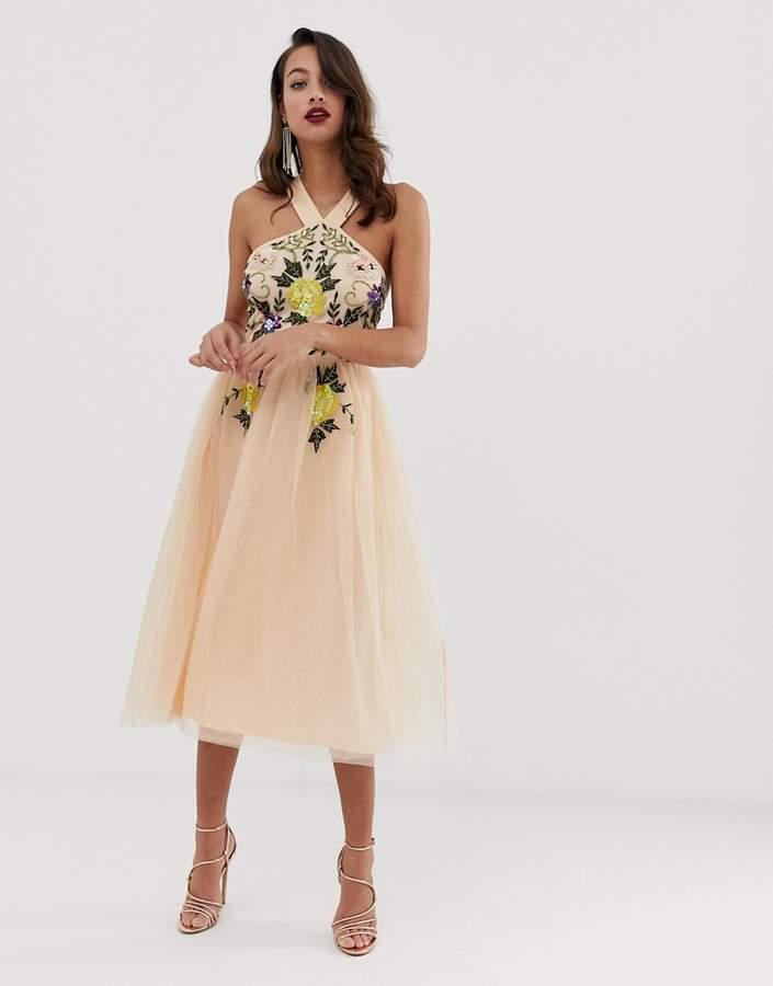 Asos Design DESIGN embellished halter midi dress with floral embroidery
