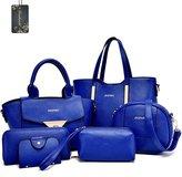 Donaword Women 6 Pieces Muti-purpose Bag in Bag Purse PUeather Handbag Set Purpe