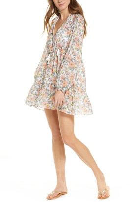 Veronica Beard Danica Floral Print Long Sleeve Cover-Up Minidress