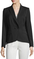 Lafayette 148 New York Two-Button Twill Blazer, Black
