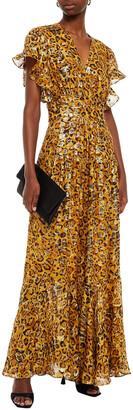 BA&SH Gemma Wrap-effect Leopard-print Fil Coupe Silk-blend Maxi Dress