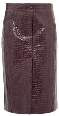 Tibi Crocodile-effect Patent Midi Skirt - Burgundy