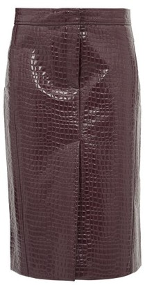 Tibi Crocodile-effect Patent Midi Skirt - Womens - Burgundy