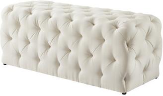 INSPIRED HOME Cream White Linen Bench