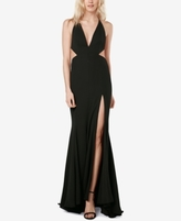 Fame and Partners Fame and Partners Open-Back Slit Plunge Gown