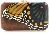 Silvia Furmanovich Marquetry Brown Butterfly Clutch