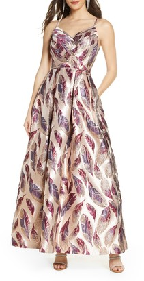 Morgan & Co. Feather Brocade A-Line Gown