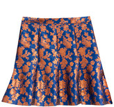 J.Crew Collection fluted skirt in copper bloom jacquard