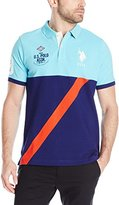 U.S. Polo Assn. Men's Color Block Diagonal Stripe Pique Polo Shirt
